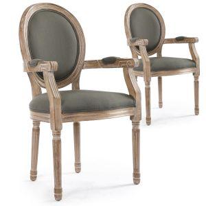 Set di 2 sedie a medaglione Luigi XVI Cosy in tessuto beige