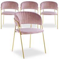 Set di 4 sedie Tabata in velluto rosa