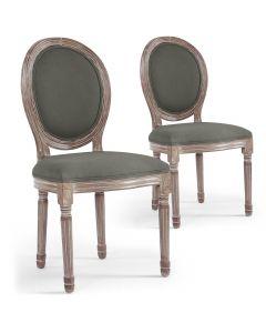Lot de 2 chaises médaillon Royale Tissu Gris
