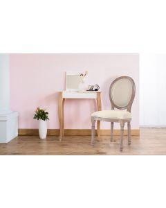 Set di 2 sedie a medaglione in stile Luigi XVI in tessuto beige