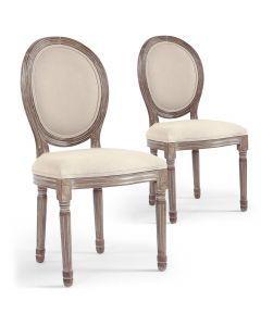 Lot de 2 chaises médaillon Louis XVI Tissu Beige