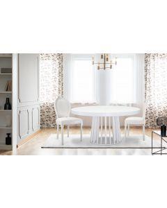 Set di 2 sedie a medaglione Luigi XVI in similpelle (PU) bianco