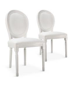 Lot de 2 chaises médaillon style Louis XVI Simili (P.U) Blanc