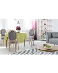 Set di 2 sedie a medaglione in stile Luigi XVI in tessuto grigio chiaro