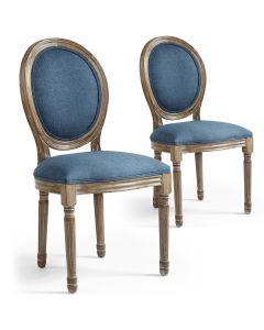 Lot de 2 chaises de style, chaise Louis XVI tissu bleu