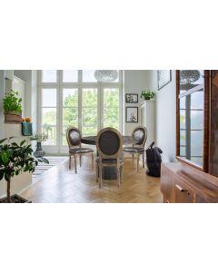 Set di 2 sedie a medaglione in stile Luigi XVI in tessuto marrone effetto pelle invecchiata