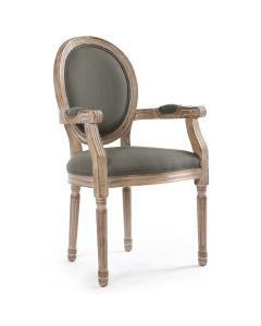 Set di 2 sedie medaglione Luigi XVI Cosy in tessuto grigio