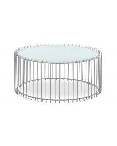 Set di 2 tavolini Universe in vetro bianco e metallo grigio