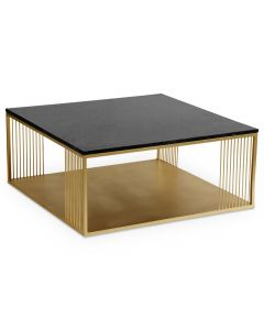 Table basse carrée Building Marbre Noir et Métal Or