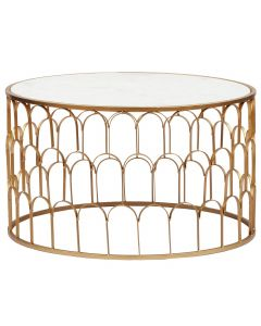 Table basse Alban Marbre Blanc et pieds Or