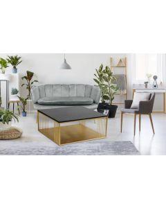 Tavolino quadrato BUILDING marmo nero e metallo dorato