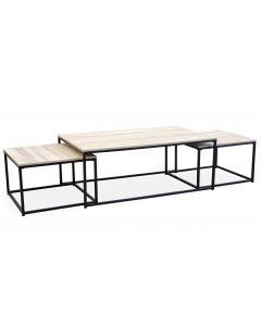 Table basse + 2 gigognes Carolina Chêne Clair