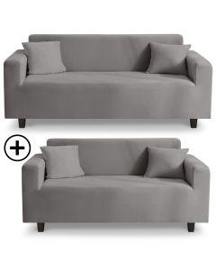 Housse de canapé d'angle extensible Decoprotect 2+3 places Gris