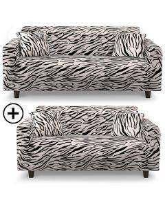 Housse de canapé d'angle extensible Decoprotect 2+3 places Zebra