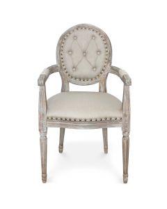Set di 2 sedie Louis XVI Dynasty a medaglione in tessuto borchiato beige