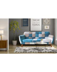 Divano scandinavo 3 posti Bombay Multicolore Blu