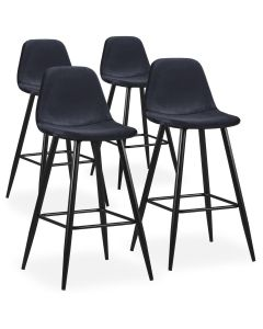 Lot de 4 chaises de bar Jody Velours Vert pieds Or