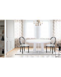 Set di 2 sedie Louis XVI in argento e schienale trasparente
