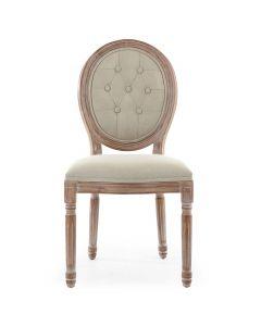 Set di 2 sedie a medaglione in stile Luigi XVI Legno patinato e tessuto imbottito beige