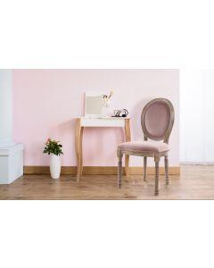Set di 2 sedie Luigi XVI in legno patinato e velluto rosa