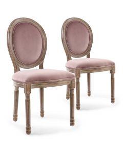 Lot de 2 chaises Louis XVI Bois patiné & velours rose