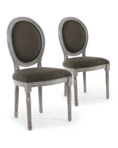 Lot de 2 chaises de style médaillon Louis XVI Bois gris patiné & tissu gris