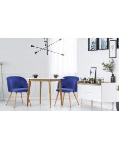 Set di 2 sedie scandinave Minima in velluto blu