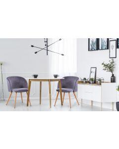 Set di 2 sedie scandinave Minima in velluto grigio