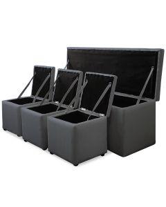 Cassapanca Panky XL + 3 poufs colore grigio