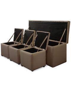 Cassapanca Panky XL + 3 poufs marrone