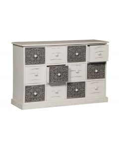 Cassettiera con 12 cassetti Changmay in legno grigio e bianco