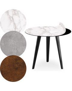 Tavolo d'appoggio magnetico rotondo da 45cm Bipolart Metallo Nero con 3 Piani stile Textures