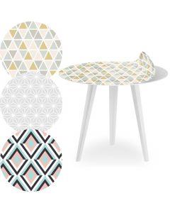 Tavolino d'appoggio magnetico rotondo 45 cm Bipolart Metallo bianco con 3 piani stile Scandinave