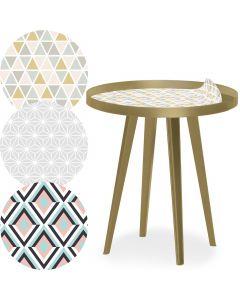 Tavolo d'appoggio magnetico rotondo con bordo da 45cm Bipolart Metallo Oro con 3 Piani stile Scandinave