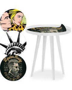 Tavolo d'appoggio magnetico rotondo con bordo da 45cm Bipolart Metallo Bianco con 3 Piani stile Fun