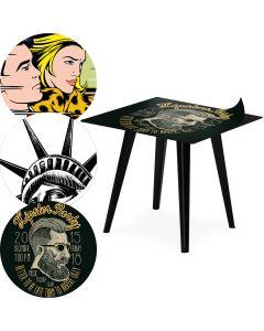 Table d'appoint magnétique carrée 40cm Bipolart Métal Noir avec 3 Tops style Fun