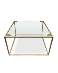 Table basse carrée Rivel Métal Or et Verre Transparent