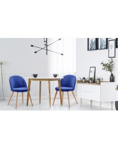 Set di 4 sedie scandinave Tartan in velluto blu