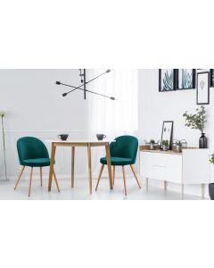 Set di 4 sedie scandinave Tartan in velluto verde