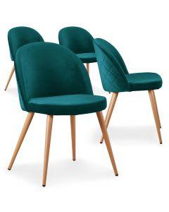 Lot de 4 chaises scandinaves Tartan velours Vert