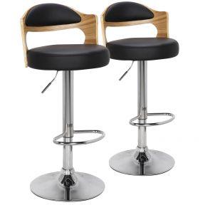 Set di 2 sedie da bar Ruben in rovere chiaro e colore nero