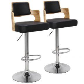 Set di 2 sedie da bar Russel in rovere chiaro e nere
