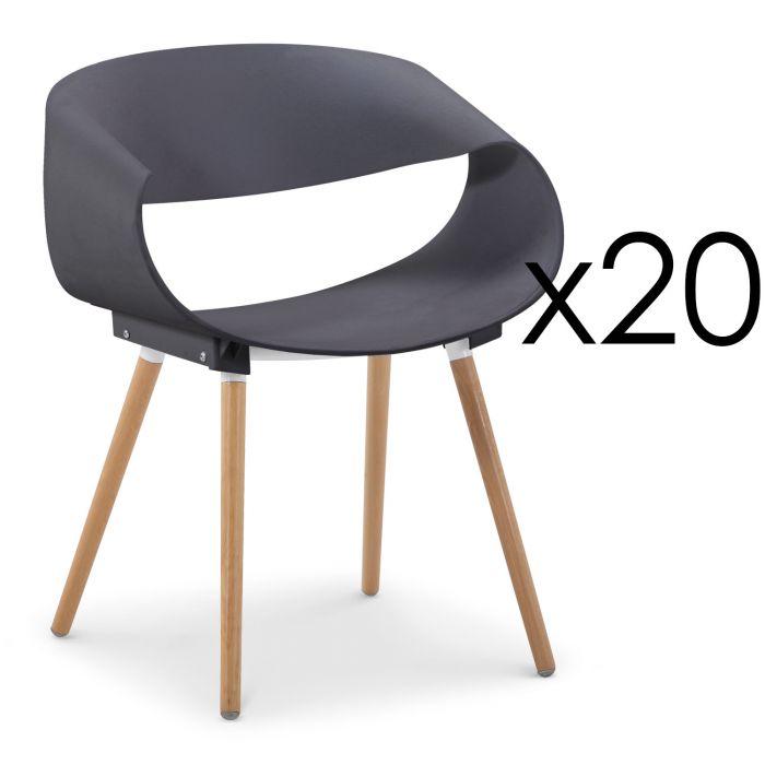 Set Di 20 Sedie Scandinave Design Zenata Grigio