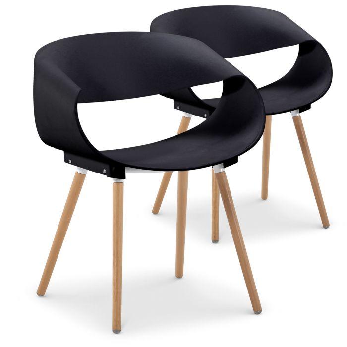 Set Di 2 Sedie Design Scandinavo Zenata Nere
