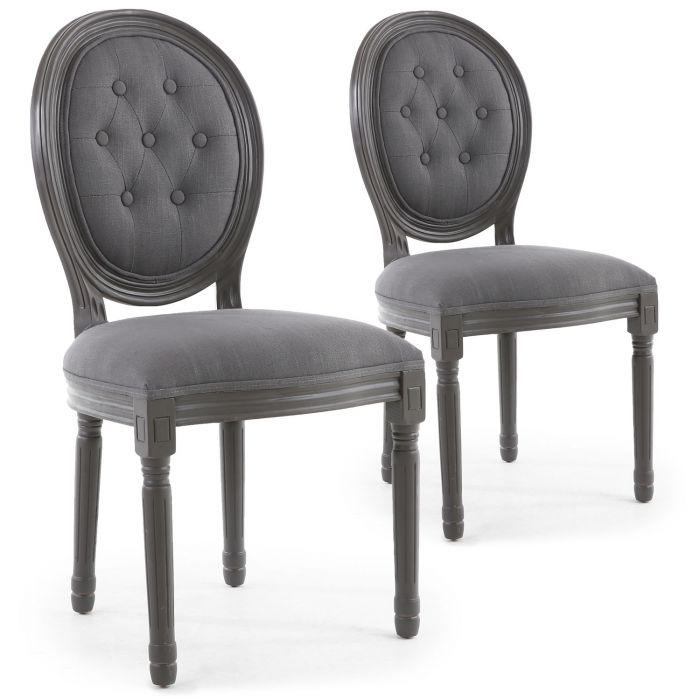 Set di 2 sedie a medaglione in stile Luigi XVI in legno ...