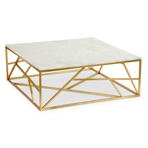 Tavolino quadrato Puzzle in marmo e metallo dorato
